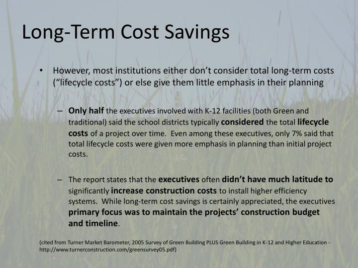 Long-Term Cost Savings