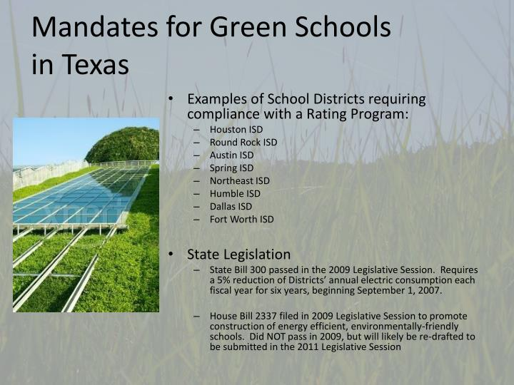 Mandates for Green Schools