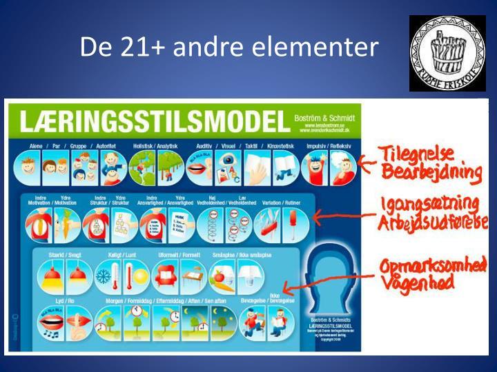 De 21+ andre elementer