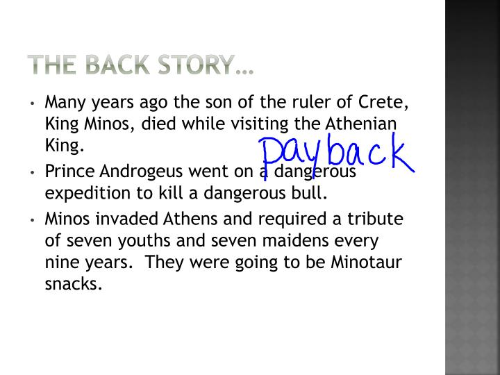The back story…