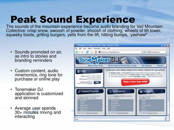 Peak Sound Experience