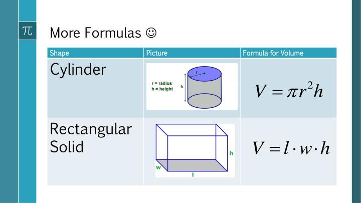 More Formulas