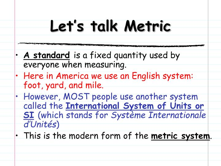 Let's talk Metric