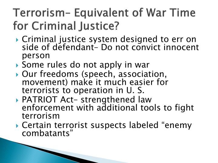 Terrorism– Equivalent of