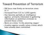 toward prevention of terrorism