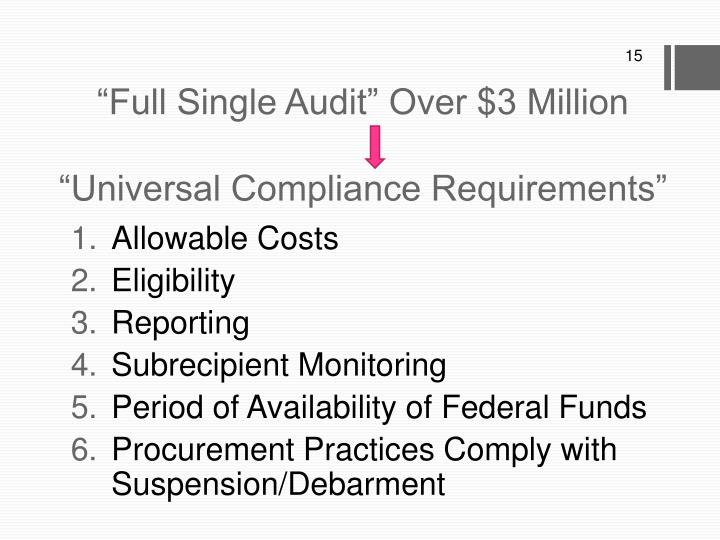 """""""Full Single Audit"""" Over $3 Million"""