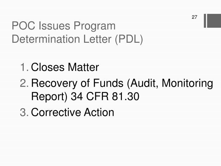 POC Issues Program Determination Letter (PDL)