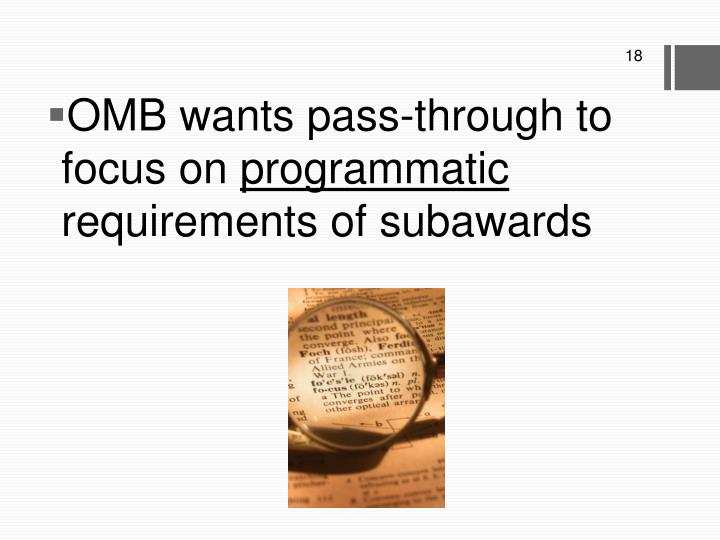OMB wants pass-through to focus on
