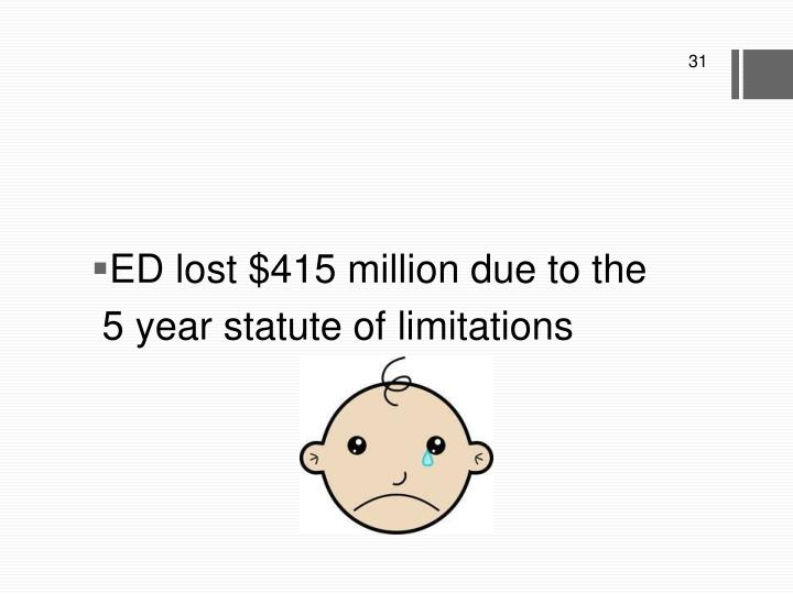ED lost $415 million due to the