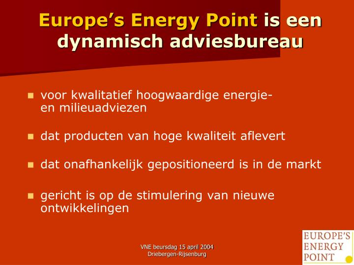 Europe s energy point is een dynamisch adviesbureau
