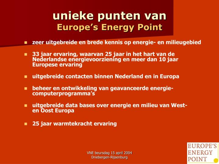 Unieke punten van europe s energy point