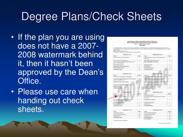 Degree Plans/Check Sheets