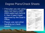 degree plans check sheets