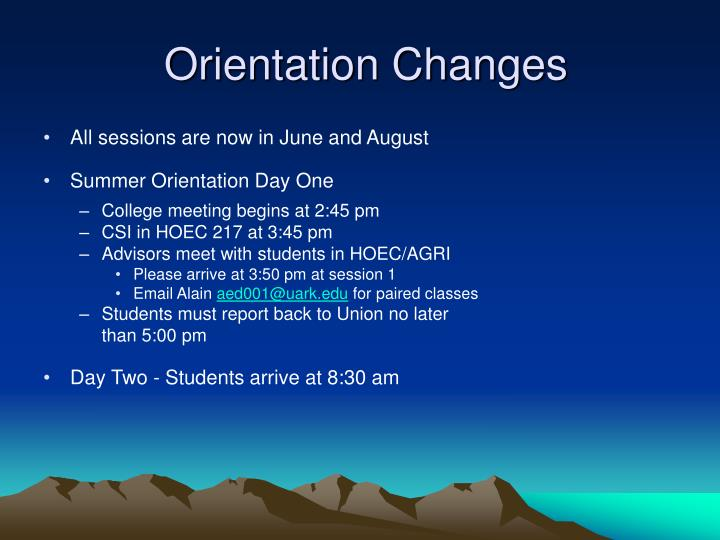 Orientation Changes