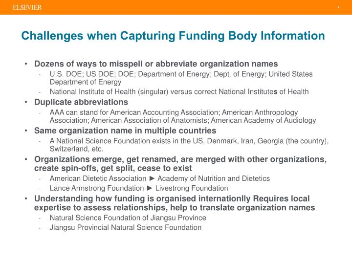Challenges when Capturing Funding Body Information