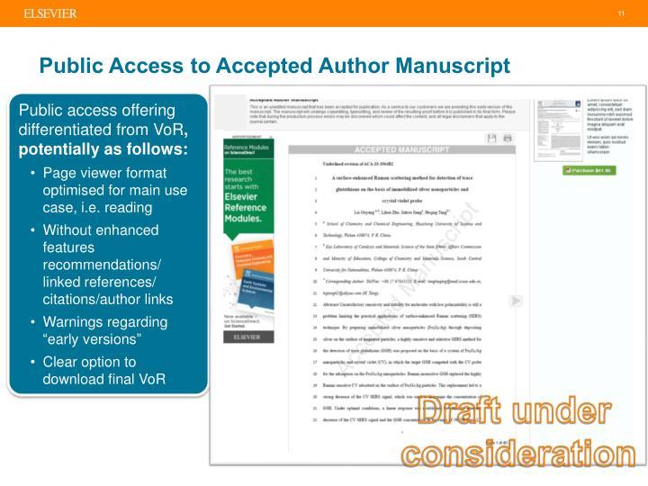 Public Access to Accepted Author Manuscript