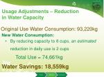usage adjustments reduction in water capacity