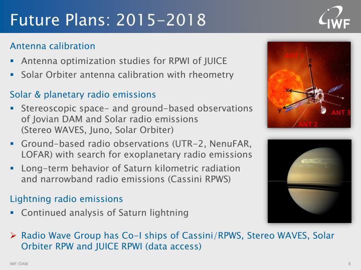 Future Plans: 2015-2018