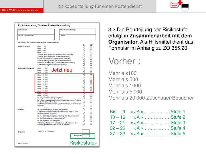 Risikobeurteilung für einen Postendienst