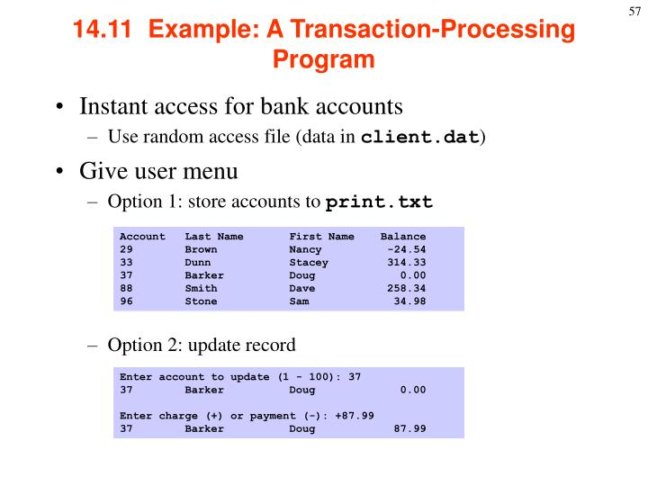 14.11  Example: A Transaction-Processing Program