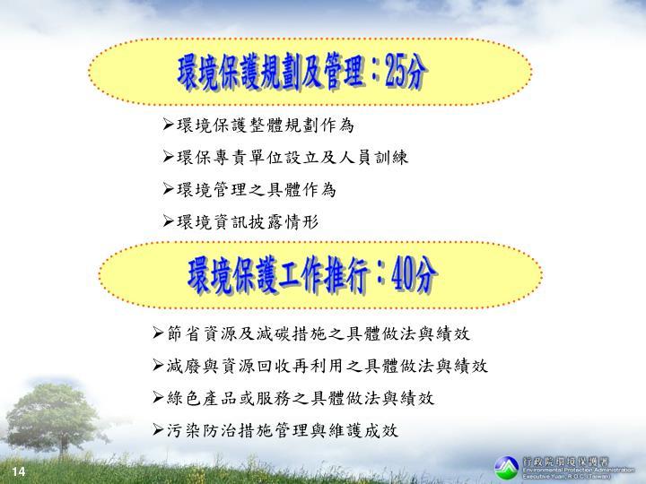 環境保護規劃及管理:
