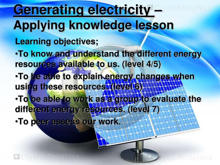 Generating electricity applying knowledge lesson