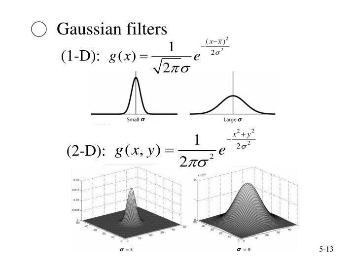○  Gaussian filters