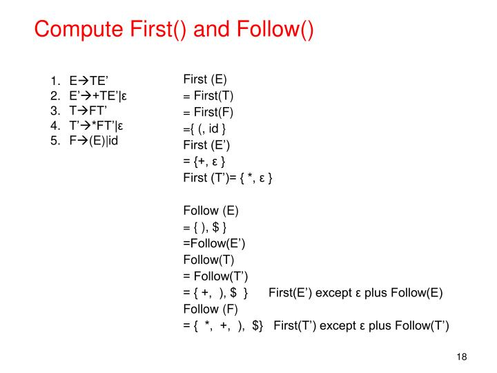 Compute First() and Follow()