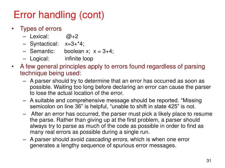 Error handling (cont)