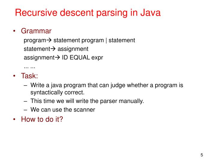 Recursive descent parsing in Java