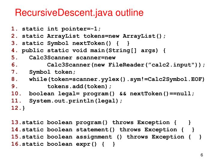 RecursiveDescent.java outline