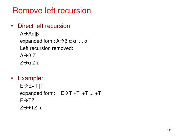 Remove left recursion