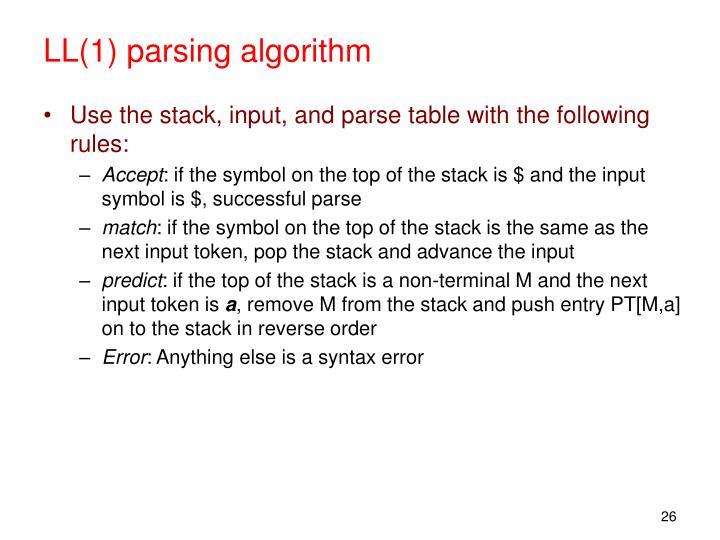 LL(1) parsing algorithm