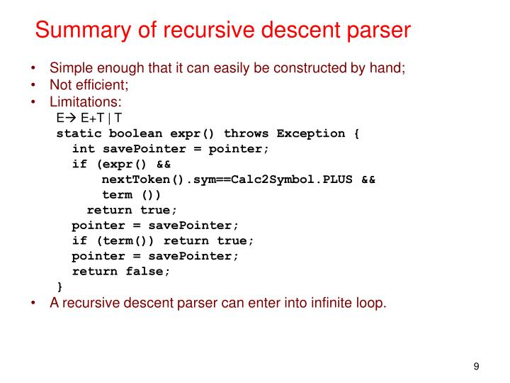 Summary of recursive descent parser