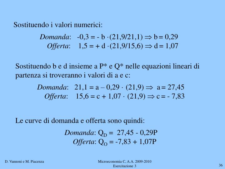 Sostituendo i valori numerici:
