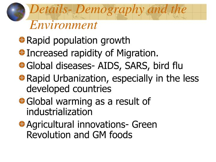Details- Demography and the Environment