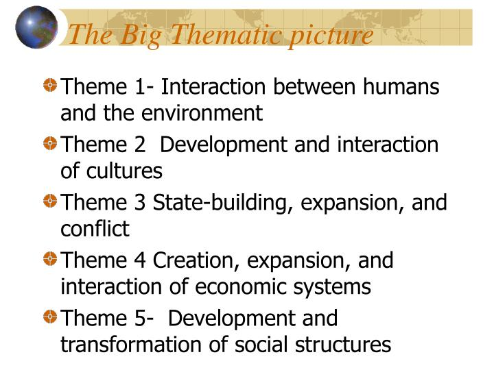 The big thematic picture