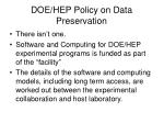 doe hep policy on data preservation