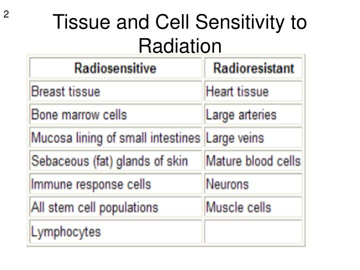 Tissue and cell sensitivity to radiation