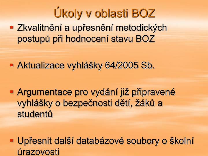 Úkoly v oblasti BOZ
