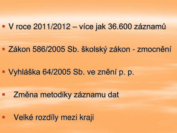 V roce 2011/2012 – více jak 36.600 záznamů