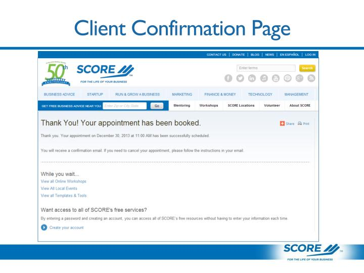 Client Confirmation Page