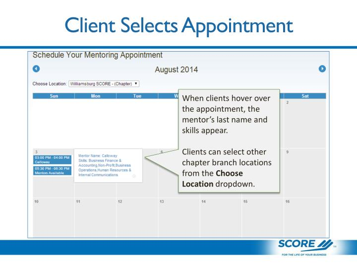 Client Selects Appointment