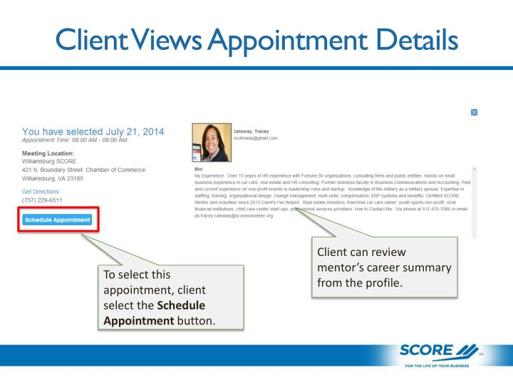 Client Views Appointment Details