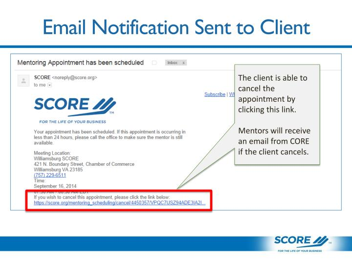 Email Notification Sent to Client