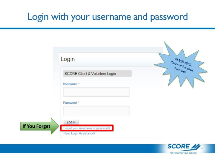 Login with your username and password