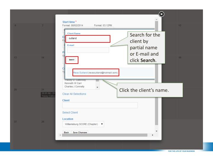 Search for the client by partial name or E-mail and click