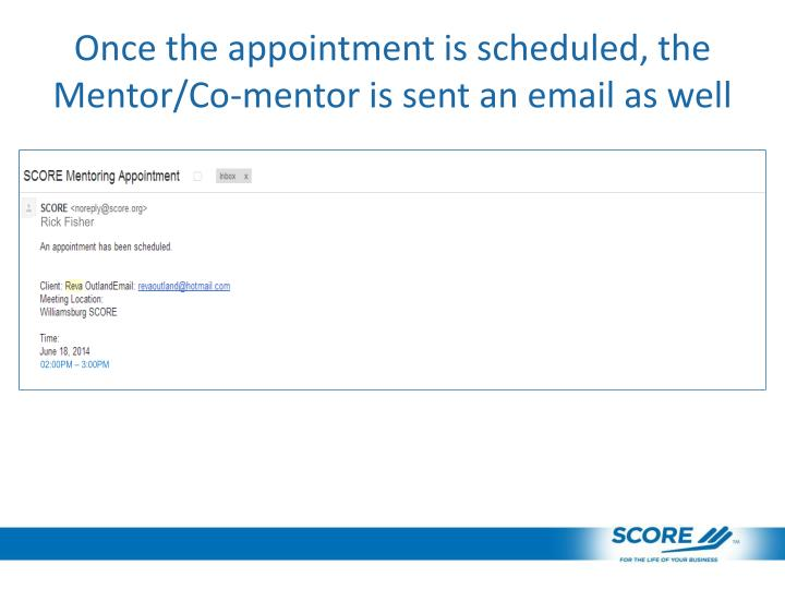 Once the appointment is scheduled, the