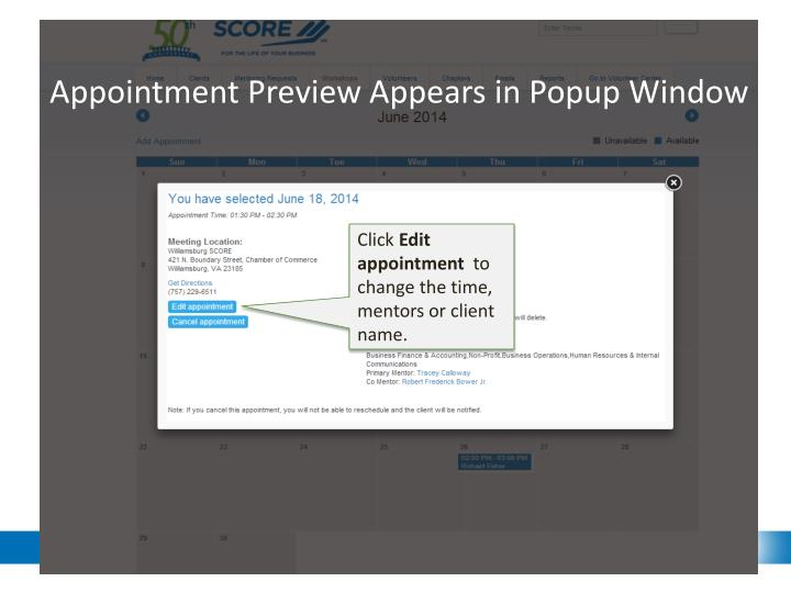 Appointment Preview Appears in Popup Window