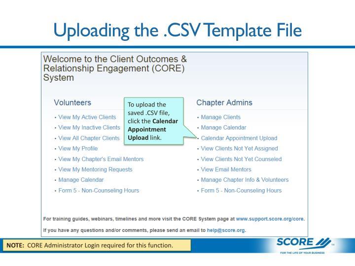 Uploading the .CSV